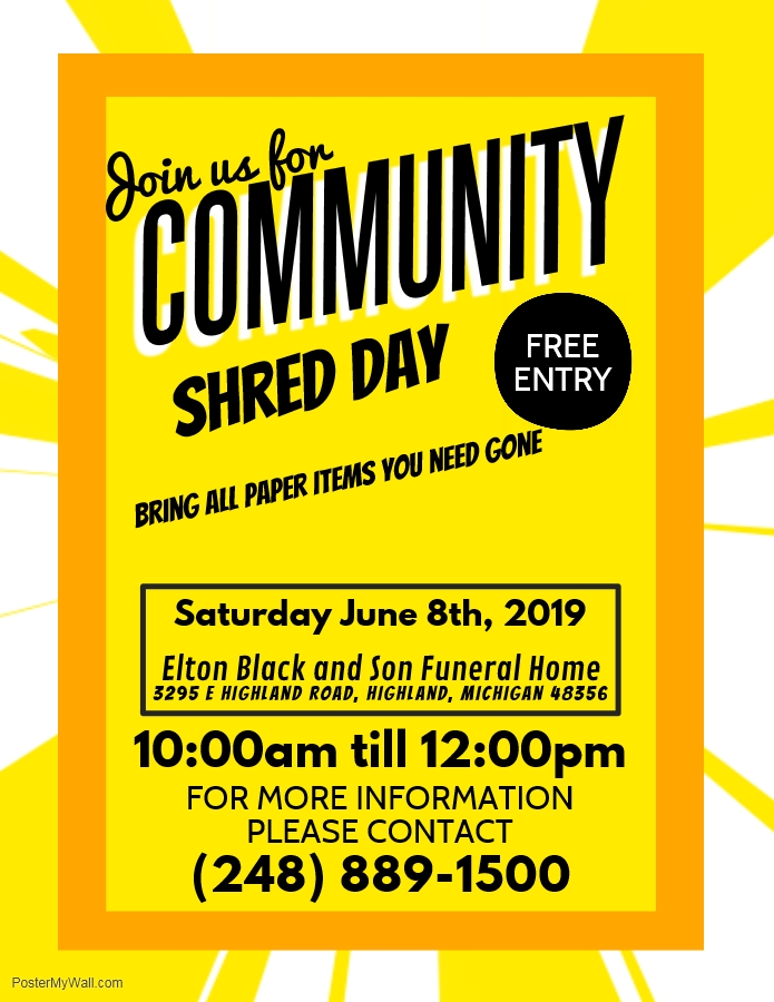 Community Shred Day - Bring all paper items you need GONE! - Lakes